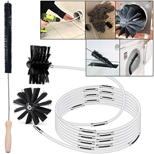 Dryer Vent Cleaning Kit 24 Feet Lint Remover Dryer Vent Cleaning Brush,Fireplace Chimney Brushes,Extends Up to 24 Feet,Add Dryer Lint Brush,2Pack Synthetic Brush Head,Use With Or Without a Power Drill