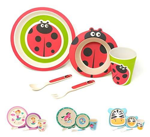 Vajilla infantil para niños entre 2 y 8 años apto para el Lavavajillas sin BPA 100% Eco-Friendly Set de 5 Piezas (Mariquita)