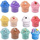 Keemanman 12 Pack Butter Slime Kit with Blue Stitch, Elephant, Unicorn, Watermelon, Lemon, Peach, O-REO, Cherry, Latte, Coffe and Candy Charms, Scented DIY Slime, Stress Relief Toy for Girls and Boys