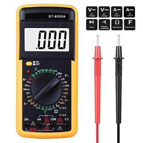 Multimetro Digital Profesional,Voltímetro Amperímetro Ohmímetro Probador Voltaje Multicomprobador AC DC con Retroiluminación LCD para Laboratorio, Fábricas