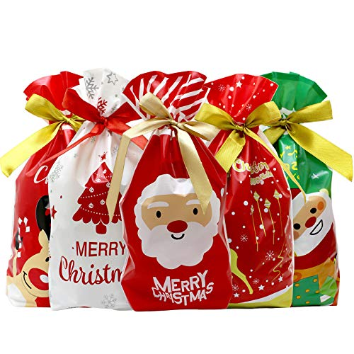 50 Pcs Christmas Candy Bags Christmas Drawstring Candy Bags Christmas Treat Bags Cookie Bags for Christmas Party Favor Gift Wrapping Supplies