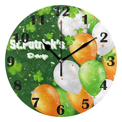 Jacque Dusk Reloj de Pared Moderno,Tréboles Elfos del día de San Patricio,Grandes Decorativos Silencioso Reloj de Cuarzo de Redondo No-Ticking para Sala de Estar,25cm diámetro