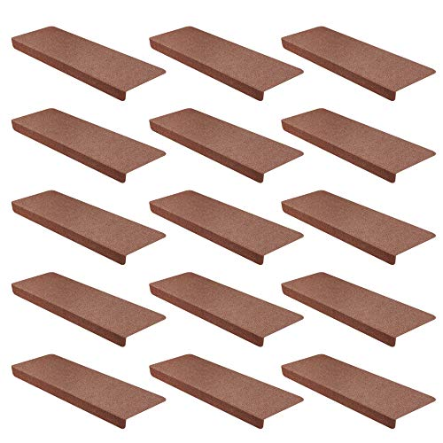 15er Set StickandShine Stufenmatte in braun eckig für Treppenstufen, Treppenstufenmatte zum aufkleben