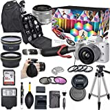 Canon EOS M50 Mark II Mirrorless Digital Camera with 15-45mm Lens Video Kit (White) + Wide Angle Lens + 2X Telephoto Lens + Flash + SanDisk 32GB SD Memory Card + Accessory Bundle