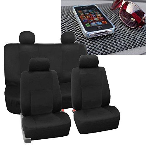 FH Group FB085114 Premium Waterproof Seat Covers (Black) Full Set w. Dash Pad – Universal Fit for Cars Trucks & SUVs