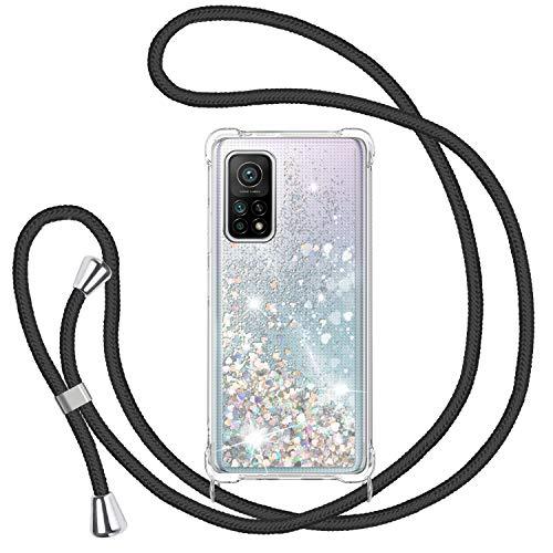 Funda Glitter Liquida con Cuerda para Xiaomi Mi 10T/10T Pro 5G, Glitter Cristal Suave Silicona TPU Bumper Protector Carcasa, Brillante Arena Movediza con Colgante Ajustable Cordón Case -Negro