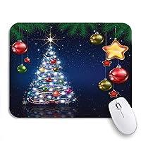 """ゲーム用マウスパッドツリーセレブレーションブルーグリーティングパインブランチスノーフレークとクリスマス9.5"""" x7.9""""ノートブック用滑り止めラバーバッキングマウスパッドコンピューターマウスマット11.8インチ×9.85インチ"""