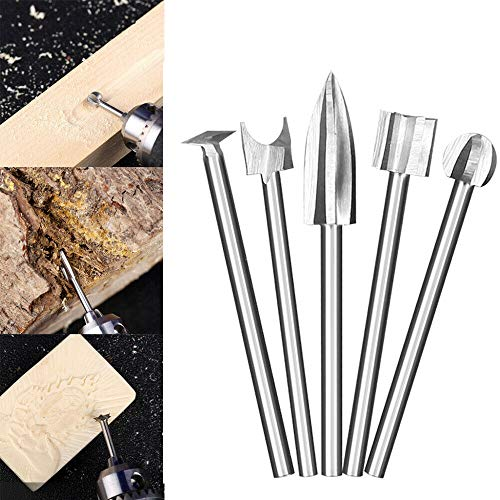 5PCS Set Wood Carving and Engraving Drill Bit Milling Cutter Root Carving Tools (3X8cm)