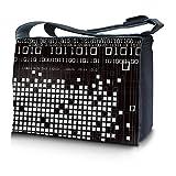 Luxburg® Design Messenger Bag Notebooktasche Umhängetasche für 15,6 Zoll, Motiv: Binärzahlen