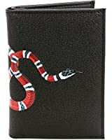 Men's Black Leather Wallet, Black Snake Pattern Luxury/Designer Bifold Snake Print