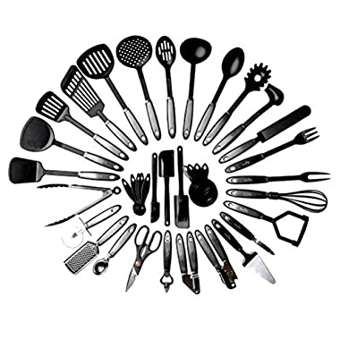 Kitchen Cooking Utensil Set - 38 Nylon Cooking Utensils - Heat Resistant & Non-Scratch, Kitchen Tools Set With Spatula - Kitchen Gadgets Cookware Set – Best Cooking Utensils Gift Set By Royaleco