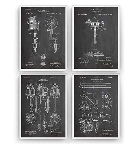 Tattoo Machine Set Of 4 Patent Posters - Tattooist Artist Studio Giclee Print Art Kunst Wall Dekor Decor Entwurf Wandkunst Blueprint Geschenk Gift - Frame Not Included