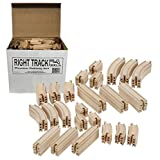 Wooden Train Track 100 Piece Pack - 100% Compatible with All Major Brands including Thomas Wooden Railway System - By Right Track Toys