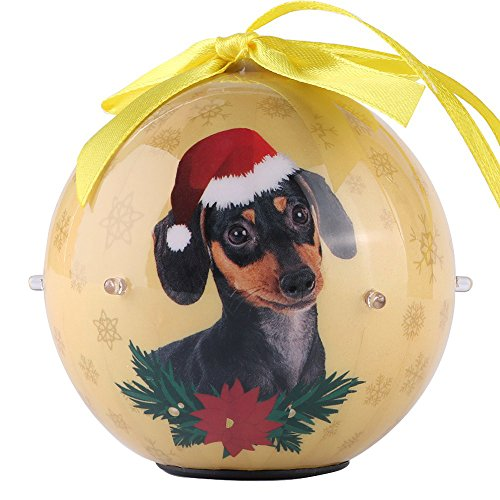 Premium Christmas Dachshund Dog Pet Collection 3 inch Ornaments Ball with Twinkling Lights, Shatterproof Beautiful Hanging Pendants for Xmas Tree, Home, Garden, Indoor and Outdoor Decorations