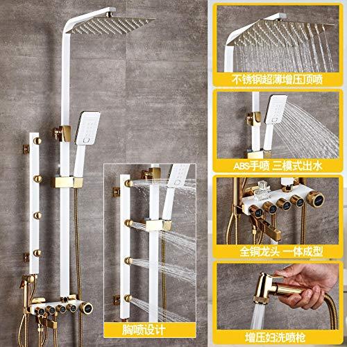 WANDOM Europese Badkamer Vierkante Douche Kraan Set Anti-Blokkeren Mondstuk warm en Koud Wit Goud Koper Riem Spuitpistool Dr68858
