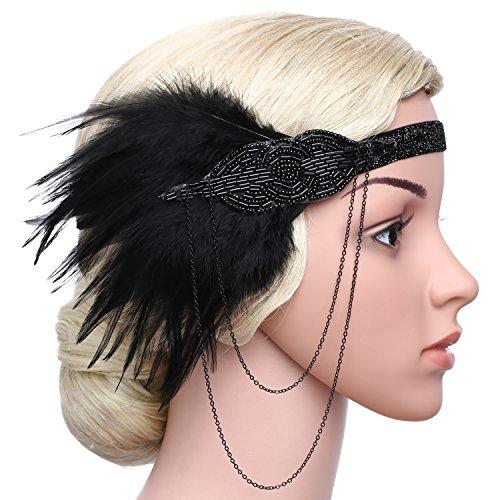 BABEYOND Damen 1920s Stirnband mit Feder 20er Jahre Stil Flapper Haarband Inspiriert von Great Gatsby Damen Kostüm Accessoires (Schwarz) - 5