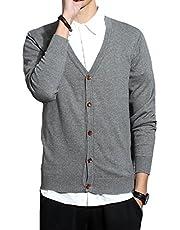 JHJSC セーター メンズ ニット カーディガン Vネック 綿 ビジネス カジュアル 無地 秋冬 おおきいサイズ