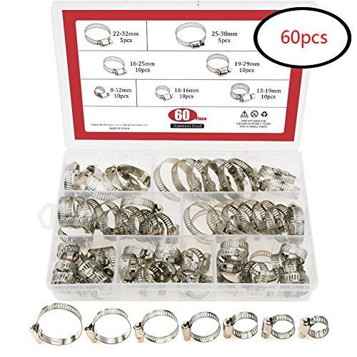 Preisvergleich Produktbild Hoop Klemme,  60 Stück pro Box,  Edelstahl,  verstellbare Reifen,  Schlauchschellen,  Edelstahl-Set,  Rohrschellen,  für Hals-Hoop-Befestigungen,  Rohrfixierer,  Werkzeug-Set,  silber