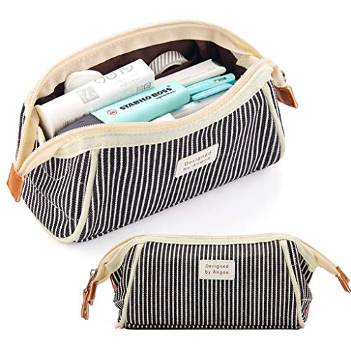 ANGOOBABY Canvas Pencil Case Trapezoid Pencil Pouch Makeup Bag for Teen Boys Girls School Students (Black Stripe)