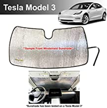 YelloPro Custom Fit Front Windshield Sunshade for 2018 2019 2020 2021 Tesla Model 3, Automotive Reflective Accessories UV Reflector Sun Protection [Made in USA]