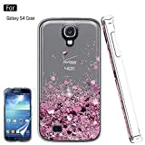 Atump Galaxy S4 Liquid Case,S4 Case, Galaxy S4 Case with HD Screen Protector for Girls Women, Bling Shiny Moving Quicksand Liquid TPU Protective Phone Case for Samsung Galaxy S4 Pink