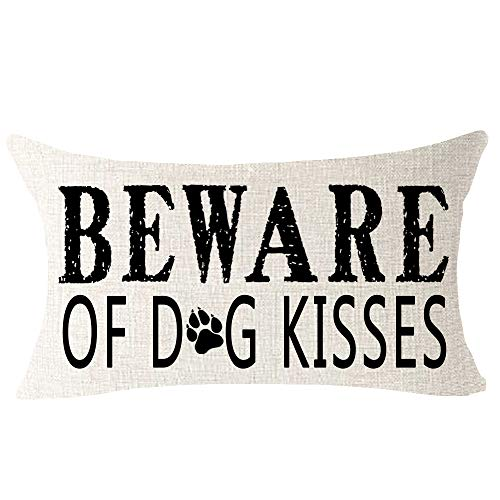 "Beware of Dog Kisses Paw Print Funny Quote Best Gift for Pet Dog Animal Outdoor Lumbar Cotton Linen Throw Waist Pillow Case Decorative Cushion Cover Pillowcase for Club Coach Sofa 12""x 20"""