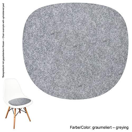 noe Eco Filz Auflage 4mm - geeignet für Vitra Eames Sidechair DSW,DSR,DSX,DSS - 29 Farben inkl. Antirutschunterlage (Graumeliert)