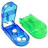 Dokpav Píldora Cortador, Medicina Tablet Píldora Cortador Divisor,cortador de pastillas con Hoja de Acero Inoxidable de Compartimiento de Almacenamiento Caja(Verde+Azul)