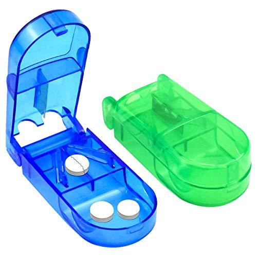 Dokpav Tablettenteiler, 2 Stück Pillenschneider, Medikamententeiler, durchsichtig Kunststoff Medizin Case mit Aufbewahrung und Edelstahlklinge für große und kleine Tabletten(Grün und blau)