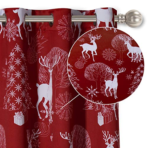 LORDTEX Deer & Snow Print Christmas Curtains for Living Room and Bedroom - Thermal Insulated Blackout Curtains, Noise Reducing Window Drapes, 52 x 63 Inches Long, Burgundy Red, Set of 2 Curtain Panels