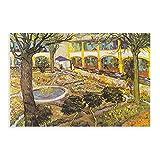 Póster de lona de Vincent Van Gogh en el patio cuadrado del hospital de Arles, decoración de dormito...