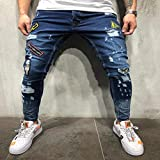 Mode Nouveau Mâle Trou Badge Broderie Denim Pantalon Pantalon Hommes Streetwear Hiphop Skinny Décontracté Patch Jean XL Bleu Livraison Gratuite