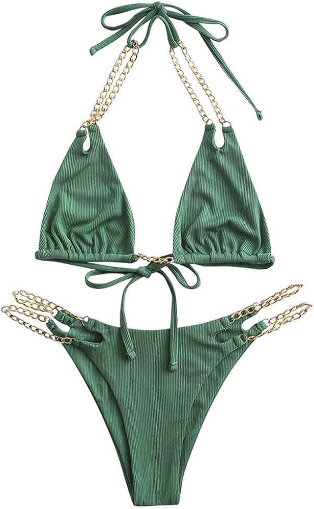 ZAFUL Women Halter Tie Swimsuit High Cut Bikini O-Ring Ribbed Cutout Tanga Bikini Swimwear