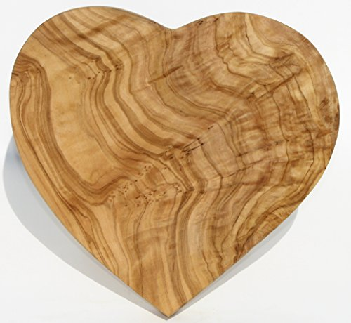 Figura Santa Tavoletta in Legno di ulivo Heartbeat. Dimensioni 20 x 20 cm. Utilizzabile Come Decorazione, Tagliere e tavoletta per la Colazione. Legno d'ulivo meravigliosamente venato.