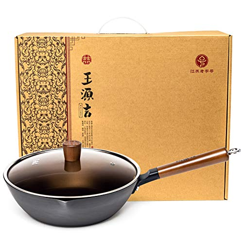 WANGYUANJI Traditional Cast Fine Iron Wok Flat Bottom Chinese Iron Pot with Glass Cover Detachable Wooden Handle Pan