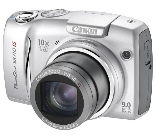 Canon PowerShot SX110 IS Digitalkamera (9 Megapixel, 10-fach opt. Zoom, 7,6 cm (3 Zoll) Display, Bildstabilisator) silber