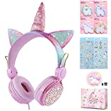 charlxee Kids Headphones with Microphone for School,Giant Unicorn Gifts for Girls Children Birthday,On Over Ear Wired Headset with 3.5mm Jack/HD Sound/Kindle/Tablet/PC Online Study(Princess,Pink)