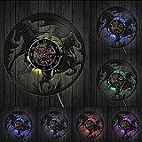 mbbvv Dark Horse Frontier Light Vinyl Record Reloj de Pared Mustang Riding Stable Decoración de Interiores Horse Animal Lover Gift