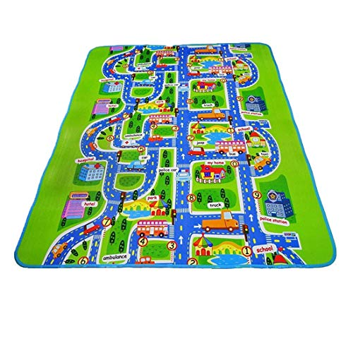 Luwu-Store Baby Play Mats Kids Activity Creeping Play Mat City Playmat Children Learning Decor Rug with Town Cars Play Road Carpet Kids Educational Car Carpet 130x160x0.5cm