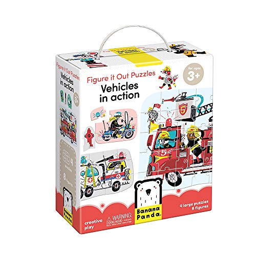 Banana Panda - Figure It Out Puzzles - Vehicles in Action - Puzzles mit steigender Teilezahl und Spielfiguren für Kinder ab 3 Jahren
