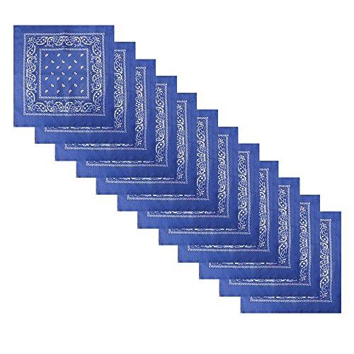 Alotpower Cotton Headbands Handkerchiefs Bandanas 12 pack,Blue
