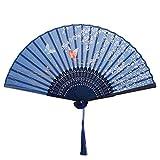 VICKSONGS Abanico de Mano, Japonés Seda Ventilador Plegable de Mujer con Borla, Abanico de Mano de Bambú para Pared Decoración Fiesta Boda Baile Regalo (Azul Oscuro)