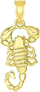 Solid 14k Yellow Gold Textured Scorpion Charm Scorpio Zodiac Pendant