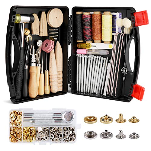 Lokunn 128 Pieces Leather Tool Kit, Leather Work Tool, Leathercraft Tools and Supplies with Leather Stamping Tools Rivets Kit Prong Punch for Leather Crafting Beginner Leather Working Kits