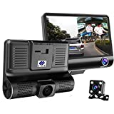 EE-ACE Car Dvr 3 Camera Lens 4 Inch Video Recorder Dash Cam Auto Registrator Dual Lens with Rear View Camera DVRS Camcorder 170 Degree Angle and F2.0 Aperture