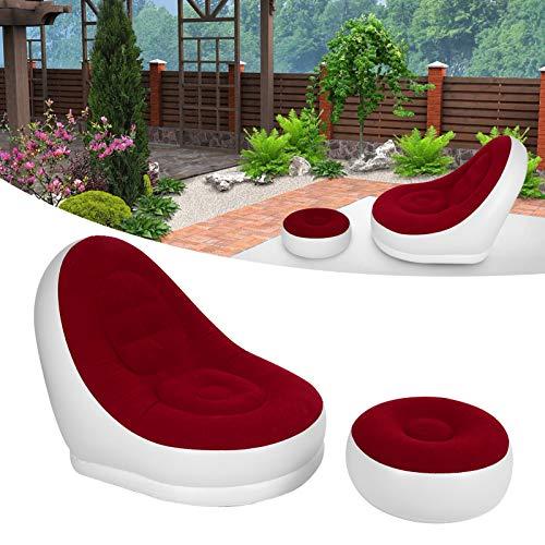Socobeta Silla inflable roja para sofá inflable plegable para interiores y exteriores (sofá rojo con pedal + bomba de pie, 116 x 98 x 83 cm)