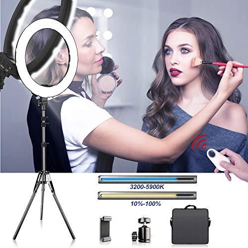 SAMTIAN Ringlicht,18 Zoll / 48cm 3200-5900K 60W Bi-Color Dimmbare 512 LED Ringleuchte Beleuchtungskit Mit 2M Lichtstativ und Handyhalter für Fotografie, YouTube Tik Tok Video, Portrait, Make-up