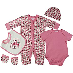 Baby-Girls Floral Hearts Theme Presents Gifts for Newborn Baby Girls Toddler Unisex Cute Clothing Sets Sleepsuit Vest Bib Hat Outfits Bundles Pack:Animalnews