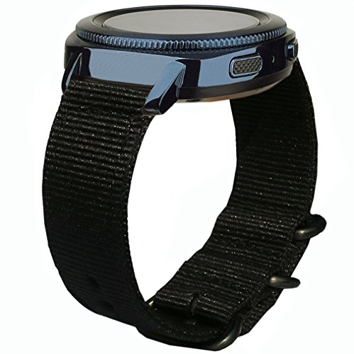Olytop Compatible Garmin Vivoactive 3 Bands / Galaxy Watch Active 2 44mm 40mm Band / Galaxy 42mm Bands, 20mm Nylon Nato Band Soft Wristband for Samsung Galaxy Watch3 41mm Smartwatch - Black