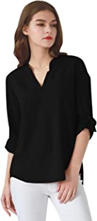 Womens Long Cuffed Sleeve Notch V Neck Chiffon Solid Color Tops Blouse